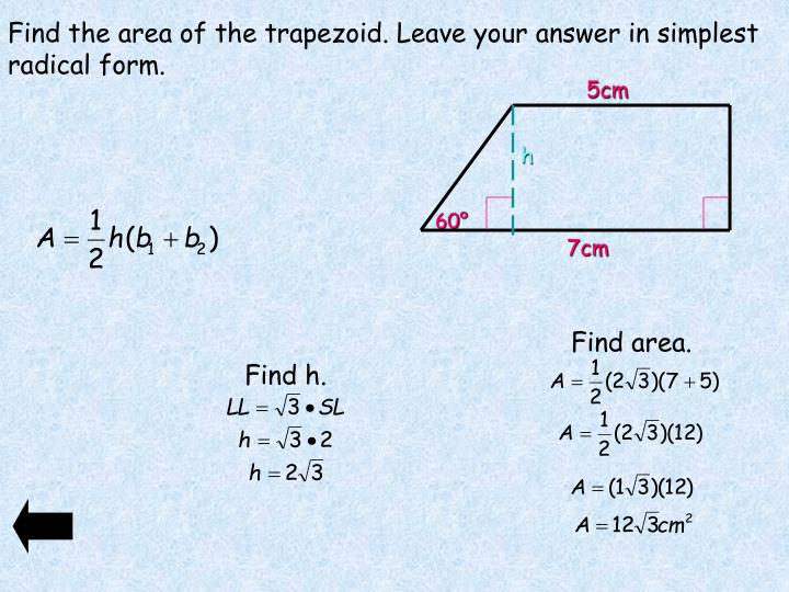 Find the area of the trapezoid. Leave your answer in simplest radical form.