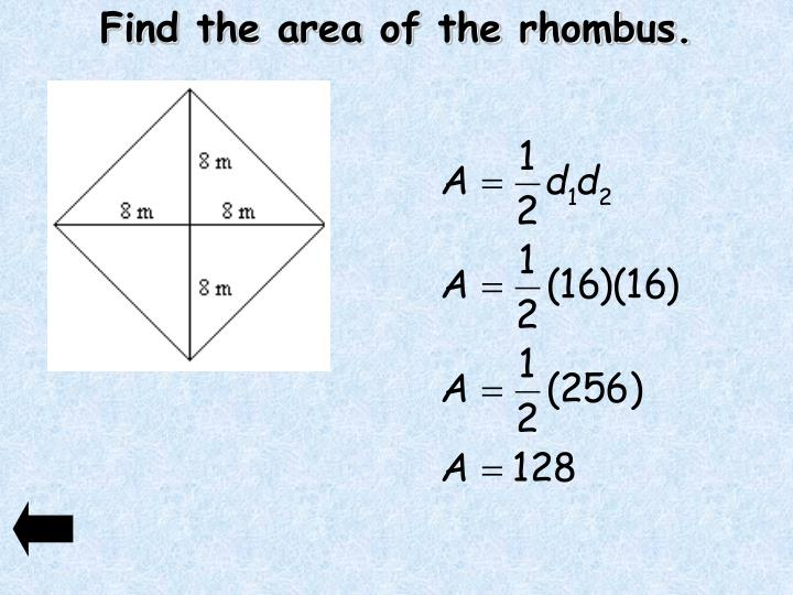 Find the area of the rhombus.