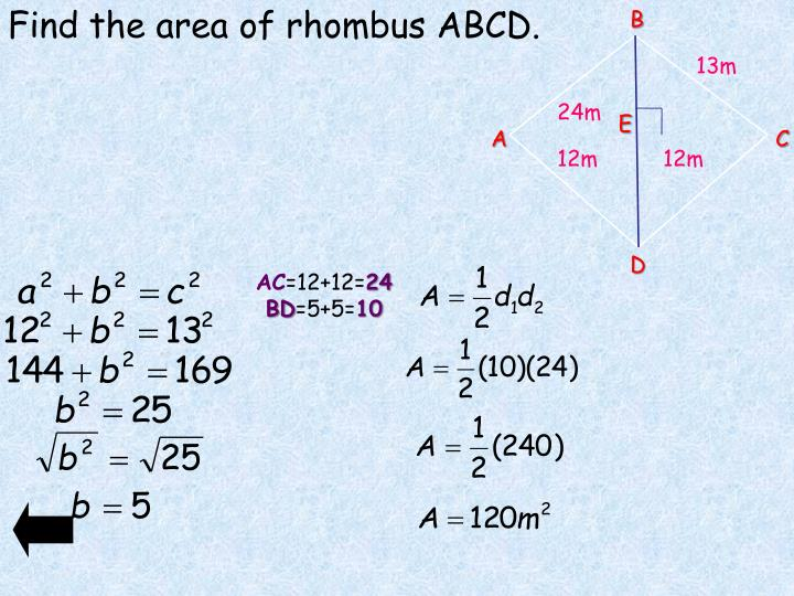 Find the area of rhombus ABCD.
