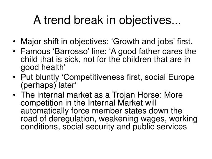 A trend break in objectives...