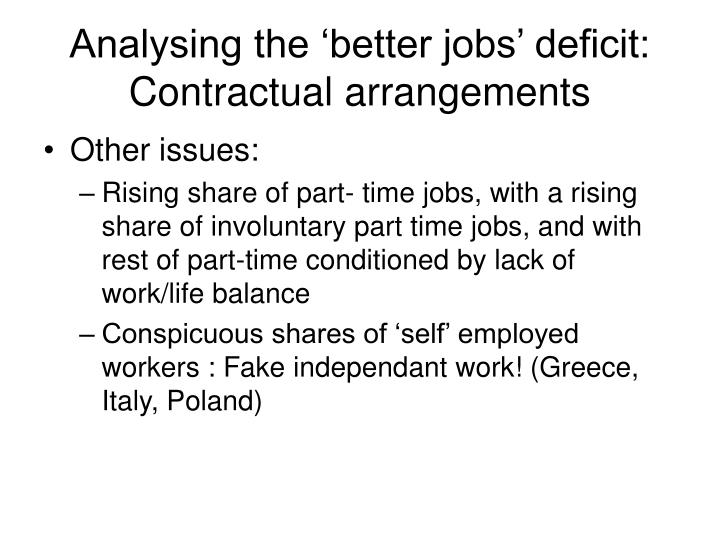 Analysing the 'better jobs' deficit: Contractual arrangements
