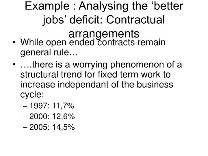 Example : Analysing the 'better jobs' deficit: Contractual arrangements