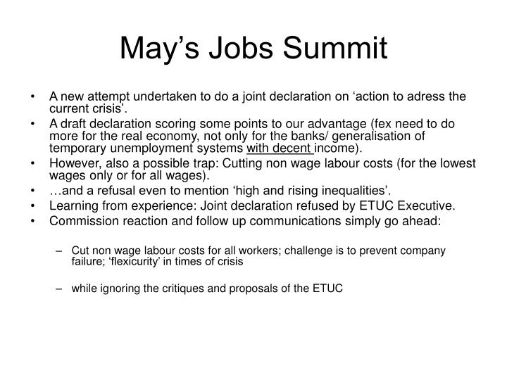 May's Jobs Summit
