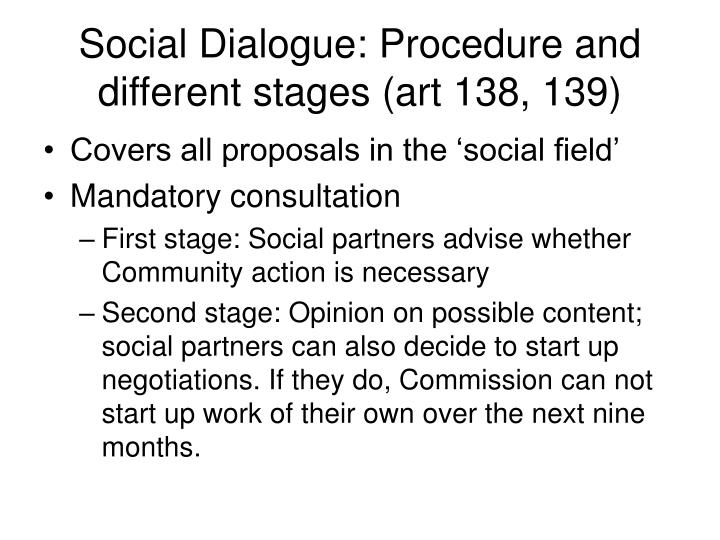 Social Dialogue: Procedure and different stages (art 138, 139)