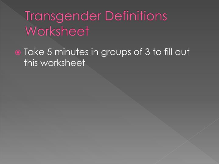 Transgender Definitions Worksheet