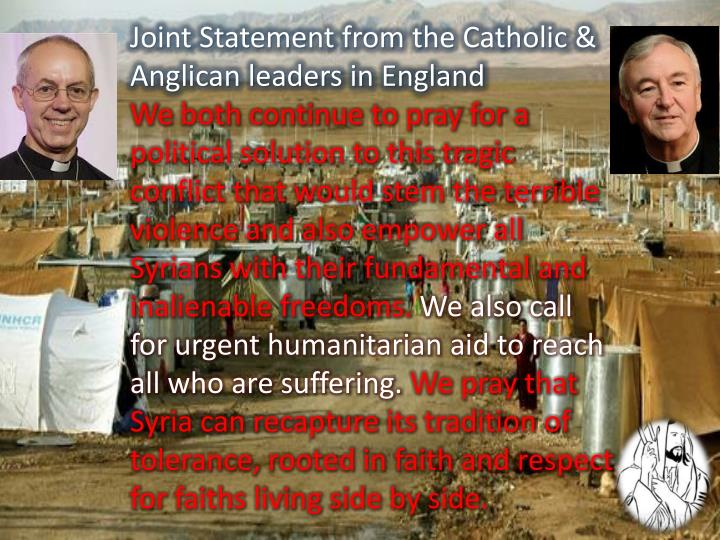Joint Statement from the Catholic & Anglican leaders in England