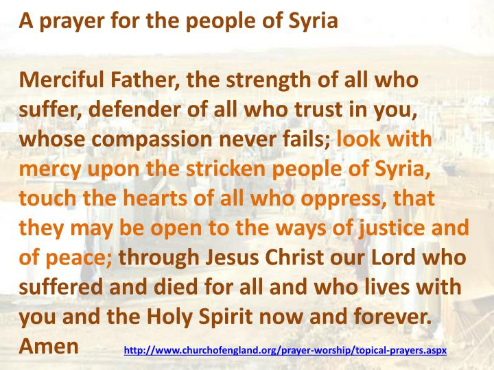 A prayer for the people of Syria