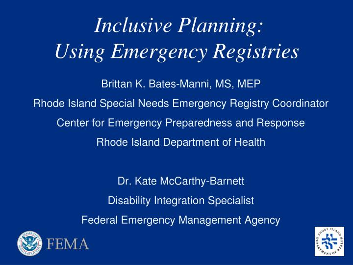 inclusive planning using emergency registries
