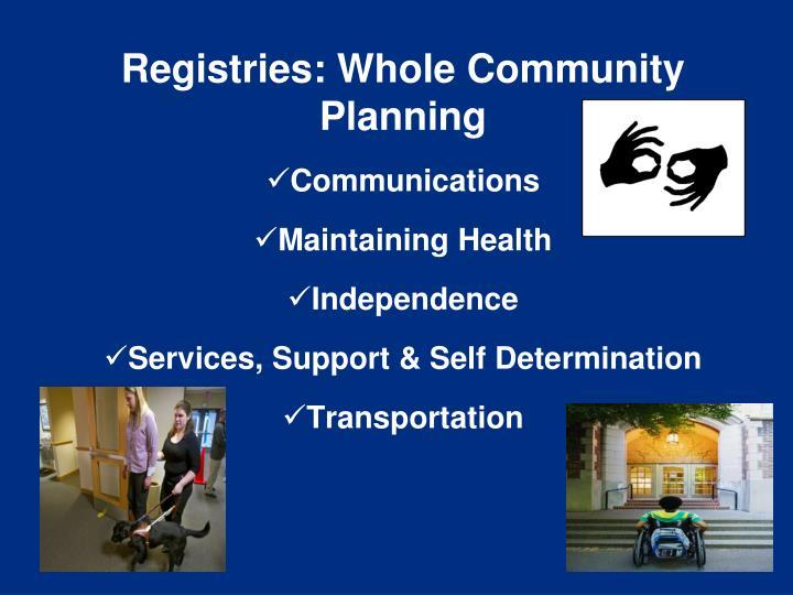 Registries: Whole Community Planning