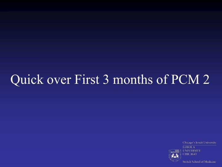 Quick over First 3 months of PCM 2