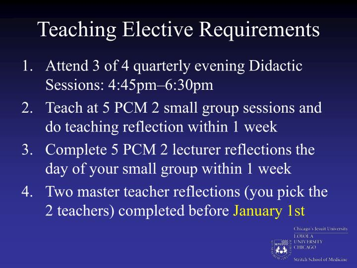 Teaching Elective Requirements