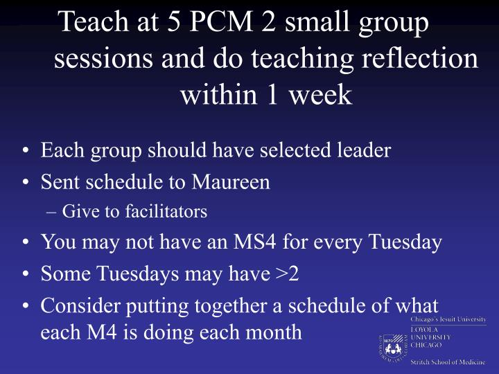 Teach at 5 PCM 2 small group sessions and do teaching reflection within 1 week