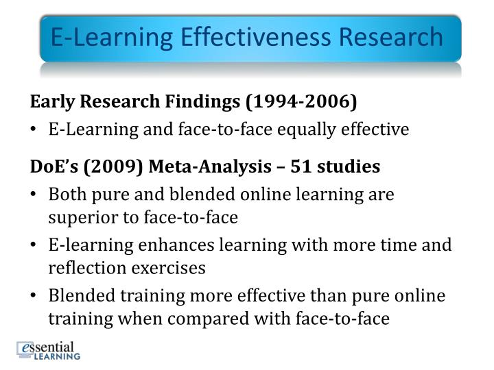 E-Learning Effectiveness Research