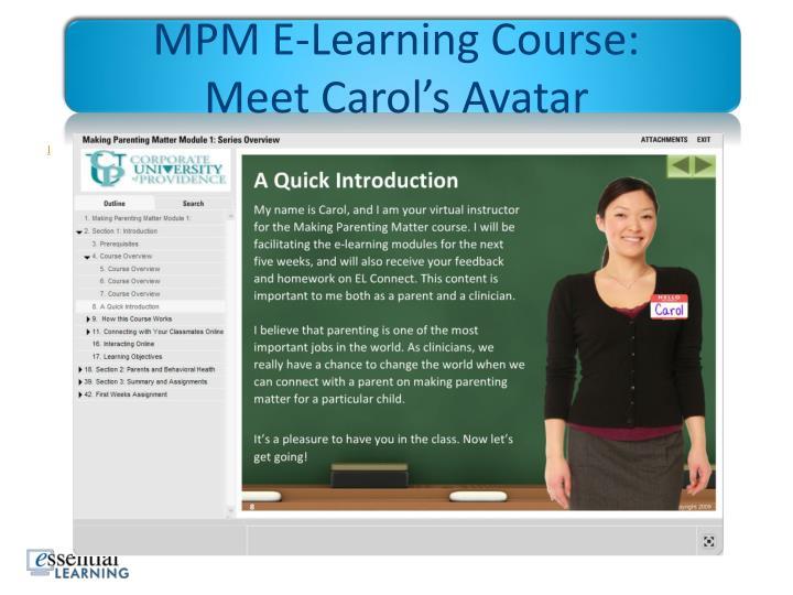 MPM E-Learning Course: