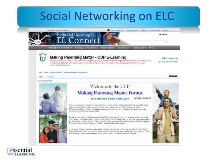 Social Networking on ELC