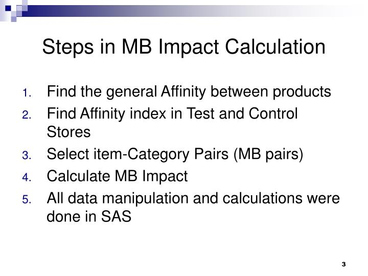 Steps in mb impact calculation