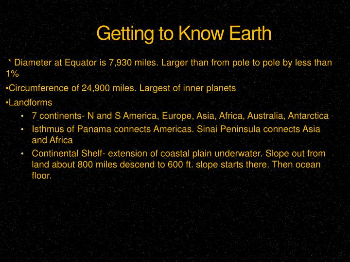 Getting to Know Earth