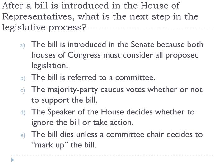 After a bill is introduced in the House of Representatives, what is the next step in the legislative process?