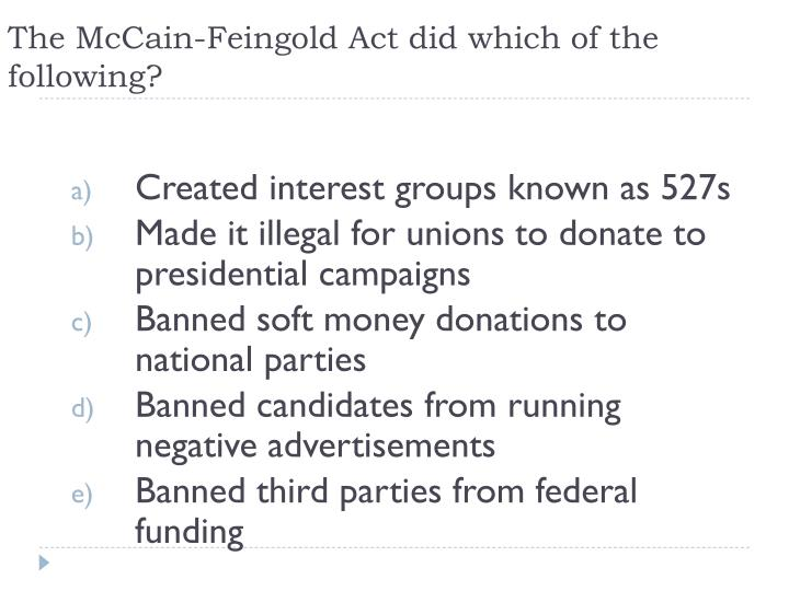 The McCain-Feingold Act did which of the following?