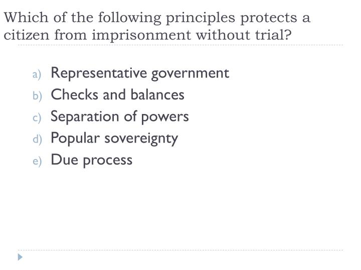 Which of the following principles protects a citizen from imprisonment without trial?