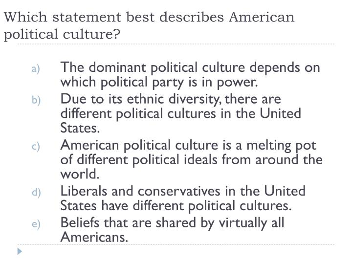 Which statement best describes American political culture?
