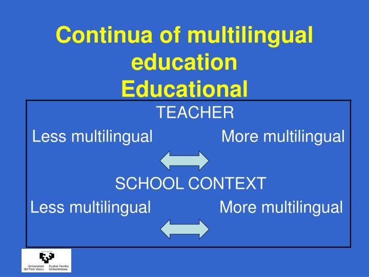 Continua of multilingual education