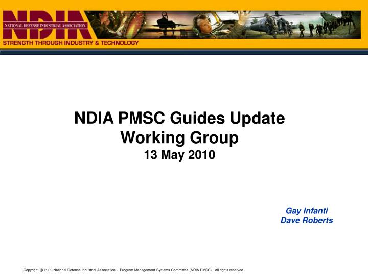 NDIA PMSC Guides Update Working Group