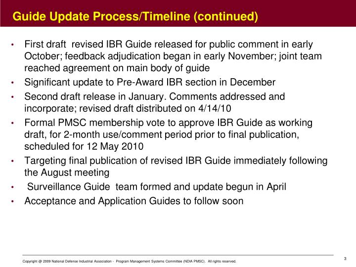 Guide update process timeline continued
