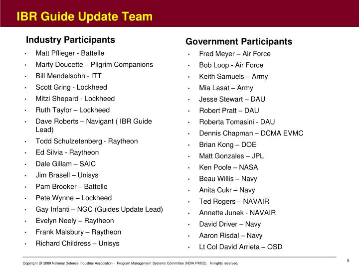 IBR Guide Update Team