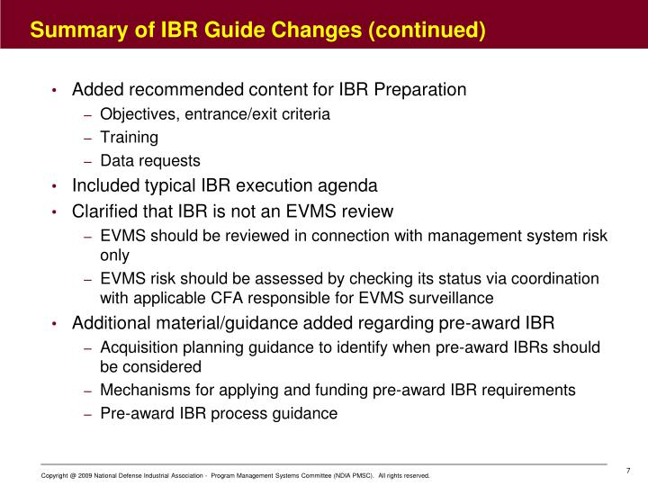 Summary of IBR Guide Changes (continued)