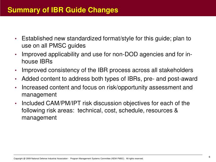 Summary of IBR Guide Changes