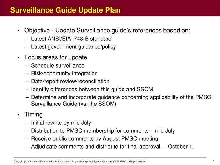 Surveillance Guide Update Plan