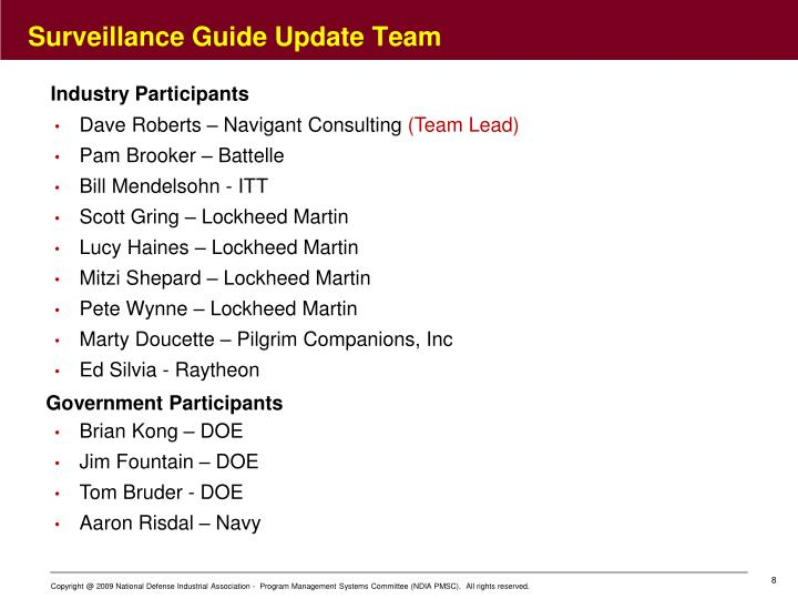 Surveillance Guide Update Team