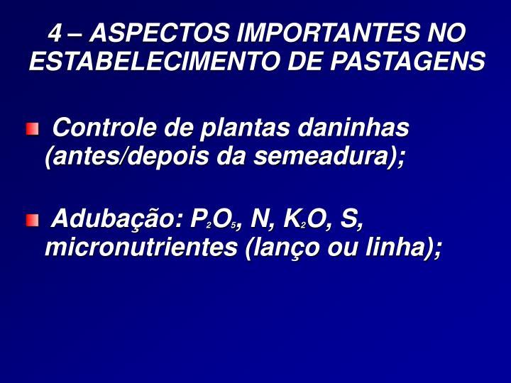 4 – ASPECTOS IMPORTANTES NO ESTABELECIMENTO DE PASTAGENS