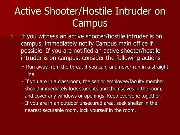 Active Shooter/Hostile Intruder on Campus