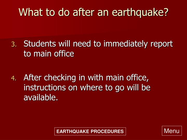 What to do after an earthquake?