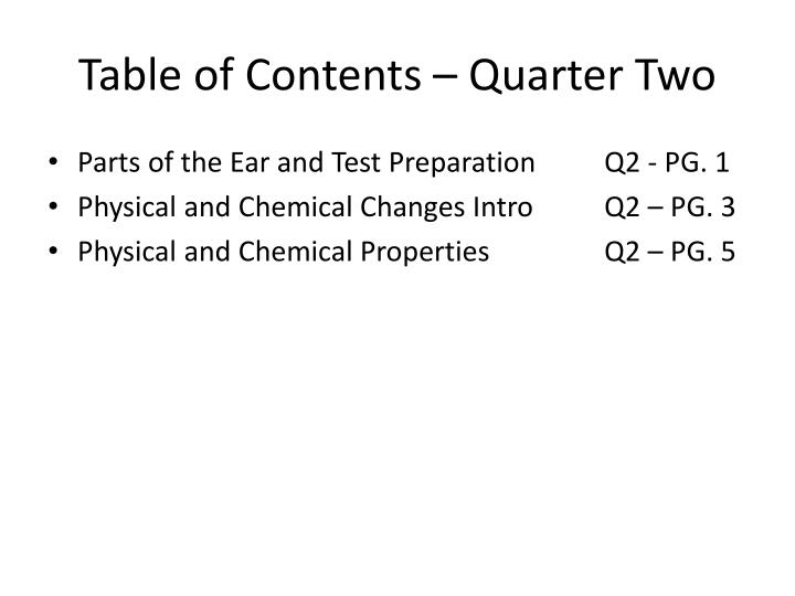 Table of contents quarter two