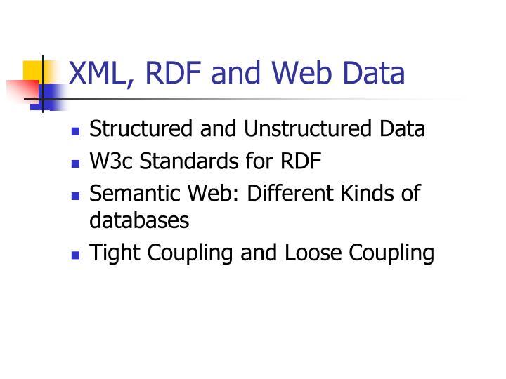 XML, RDF and Web Data