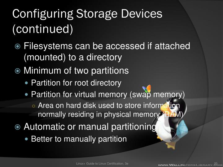 Configuring Storage Devices (continued)