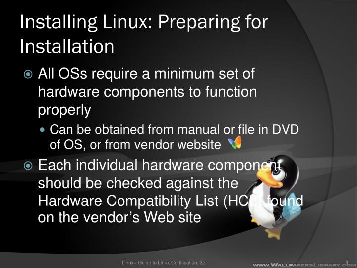 Installing linux preparing for installation