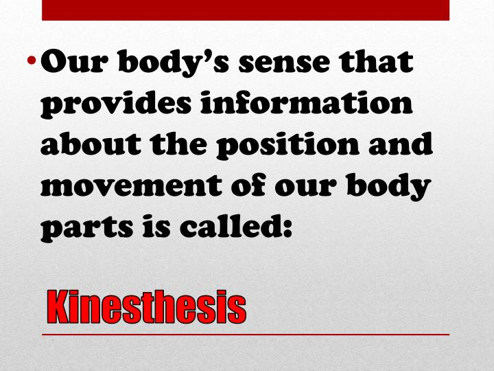 Our body's sense that provides information about the position and movement of our body parts is called:
