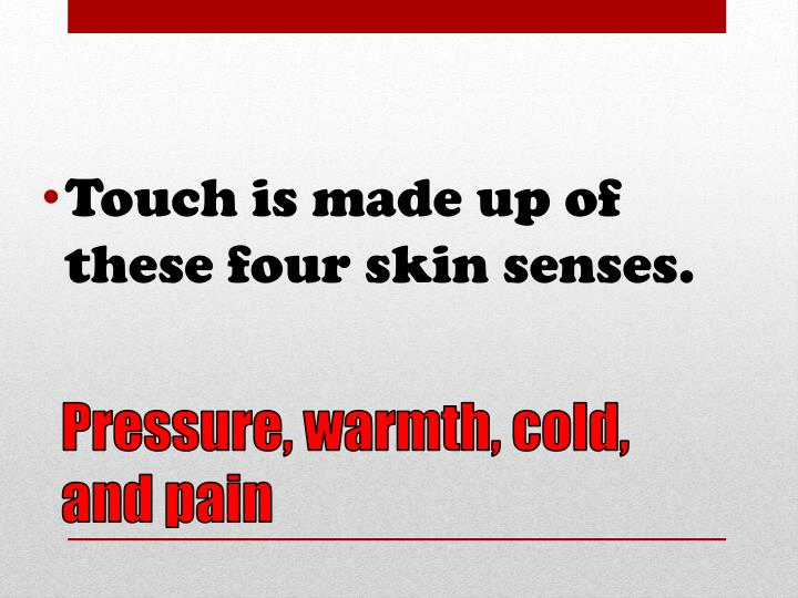 Touch is made up of these four skin senses.