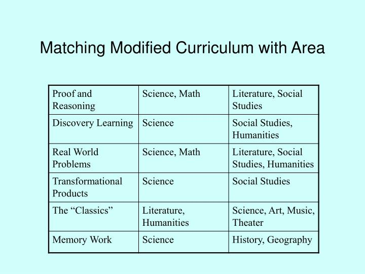 Matching Modified Curriculum with Area