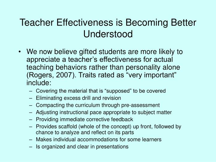 Teacher effectiveness is becoming better understood