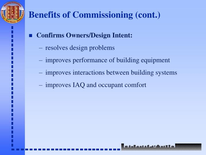 Benefits of Commissioning (cont.)