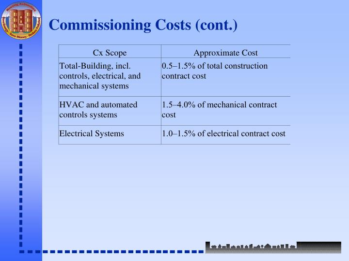 Commissioning Costs (cont.)