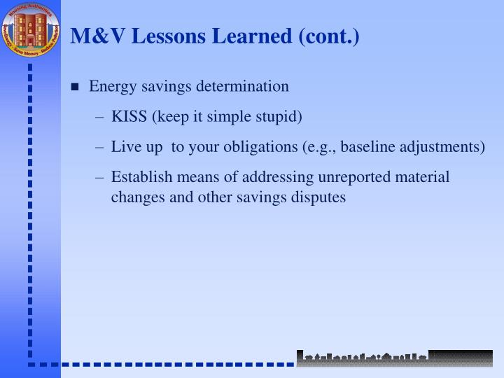 M&V Lessons Learned (cont.)