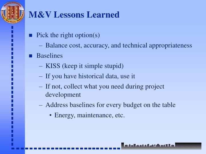 M&V Lessons Learned