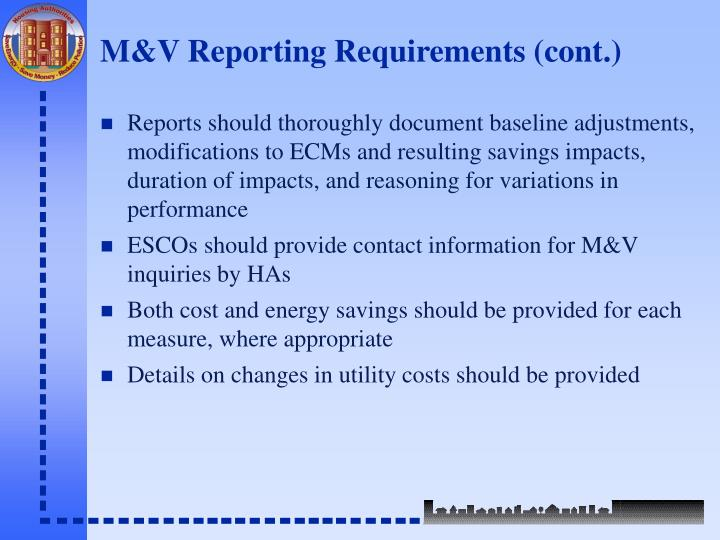 M&V Reporting Requirements (cont.)
