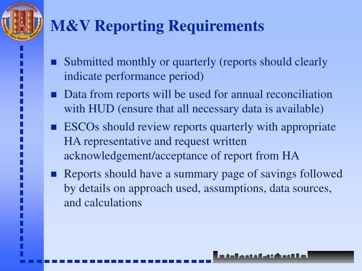 M&V Reporting Requirements